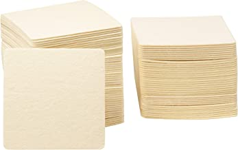 Blank Coasters - 150-Pack Square Cardboard Paper Coasters, 4 x 4 Inch Absorbent Plain Off White Pulp Board DIY Coasters for Drinks, Arts and Crafts Projects, Printing, Letterpress, Mini Art Zen Boards