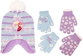 Frozen Hat and 2 Pair Gloves/Mittens Cold Weather Set, Little Girls, Age 2-7