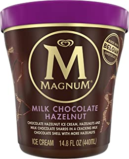 MAGNUM Milk Chocolate Hazelnut Ice Cream, 14.8 oz. Tub (8 count)