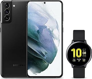 Samsung Galaxy S21+ Dual SIM Smartphone, 128GB 8GB RAM 5G, Phantom Black + Galaxy Watch Active2 (40mm) Smart Watch, Aqua B...