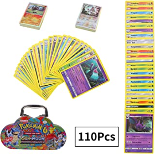 110Pcs Jeu de Cartes Pokemon Cartes, Carte de Pokemon Amusant pour Enfants, Cartes à Collectionner, Sun & Moon Series Burning Shadows