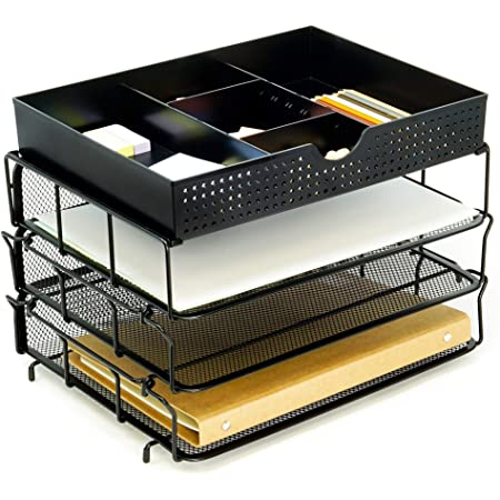 Space-Saving Functionality for Office Home Use 7-Trays Vertical Document Letter Tray Wall File Holder with Pen Holder Durable Steel Mesh Construction Funarrow Mesh Desk Organizer