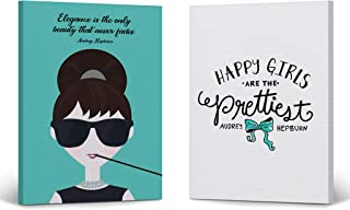 Smile Art Design Audrey Hepburn Wall Art Elegance Quote Two Piece Canvas Print Set Teal Blue Illustration Breakfast at Tiffany`s Modern Living Room Bedroom Home Decor Ready to Hang 12x8
