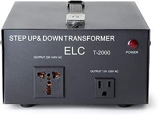 ELC T-2000 2000-Watt Voltage Converter Transformer - Step Up/Down - 110V/220V - Circuit Breaker Protection