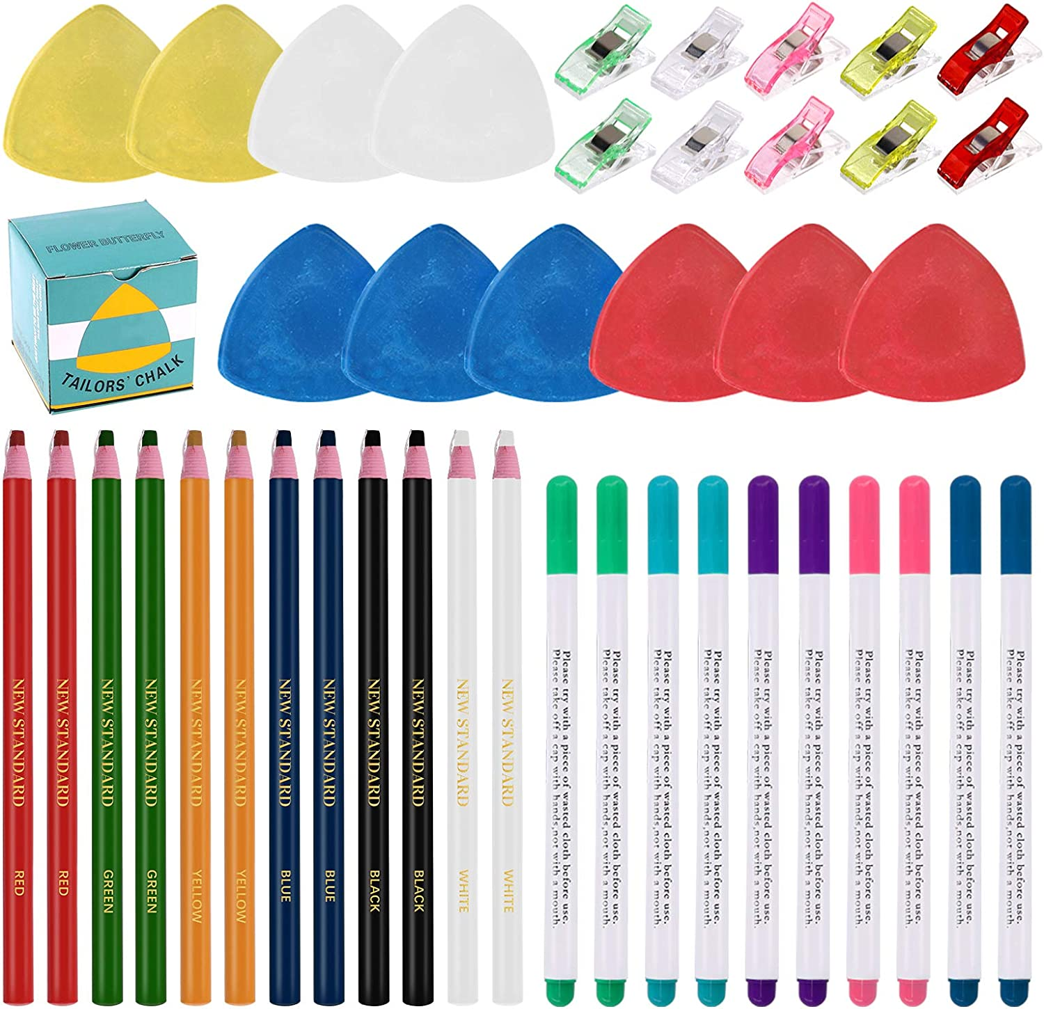 Swpeet 43Pcs Sewing Tools Kit, 10Pcs Professional Tailor's Chalk and 12Pcs Sewing Mark Pencil with 12Pcs 5 Color Disappearing Erasable Ink Fabric Marker Pen and 10Pcs Plastic Clips for Sewing Marking
