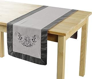 douceur d'intérieur Bonheur Chemin de Table, Polyester, Taupe/Anthracite, 40x140 cm