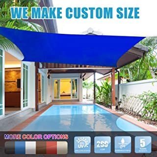 Amgo 16' x 16' Blue Square Sun Shade Sail Canopy Awning, 95% UV Blockage, Water & Air Permeable, Commercial and Residential, for Patio Yard Pergola, 5 Years Warranty (Available for Custom Sizes)