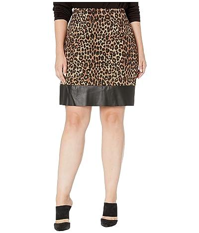 MICHAEL Michael Kors Plus Size Cheetah Leather Mini Skirt (Dark Camel) Women