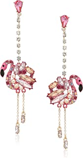Betsey Johnson Womens Pink and Rose Gold Linear Drop Flamingo Earrings