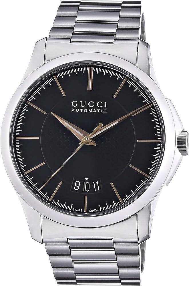 Gucci orologio analogico automatico da uomo in acciaio inossidabile YA126432