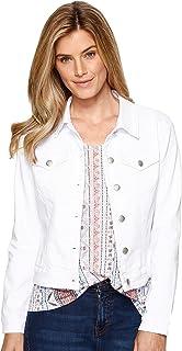 جاكيت جينز أساسي ملون للنساء بلون أبيض، مقاس XX-Large