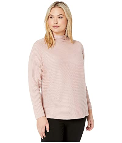 Eileen Fisher Plus Size Merino Funnel Neck Top (Sugar Plum) Women