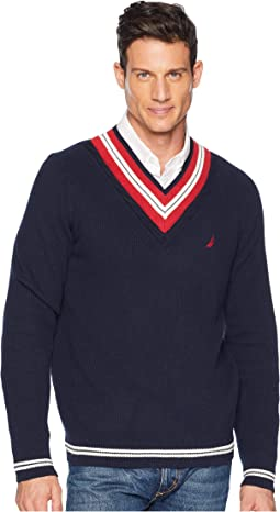 9GG Cable Tipped V-Neck Sweater