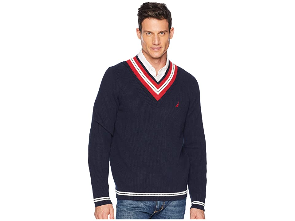 Nautica 9GG Cable Tipped V-Neck Sweater (Navy) Men