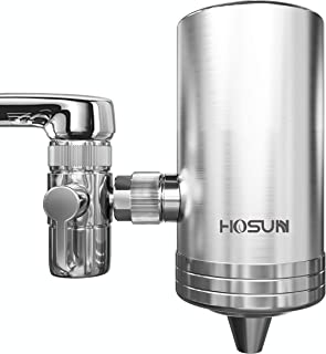 HOSUN Faucet Water Filter,New SUS304 Stainless Steel Water Purifier,Water Filter Faucet Reduces Chlorine Reduces Lead, BPA Free, Fits Standard Faucets Only, (1 Filters Included)