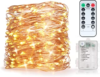 Craftersmark String Lights Battery Operated 33FT 100 LEDs Timer Waterproof Copper Wire Twinkle Fairy Lights for Halloween Christmas Wedding Party Bedroom Decoration (Remote Control Included)
