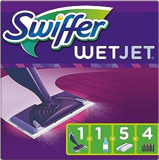Swiffer WetJet Balai Lave Sol avec Spray, Kit de Démarrage avec 1 Balai Spray, 5 Lingettes, 1 Solution Nettoyante Liquide ...