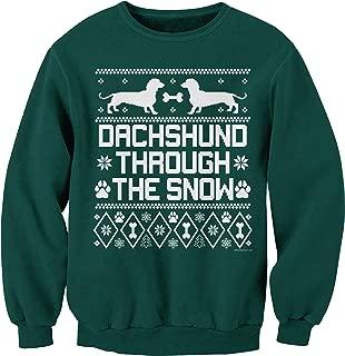 ShirtInvaders Dachshund Through The Snow - Weiner Dog Ugly Christmas Sweatshirt