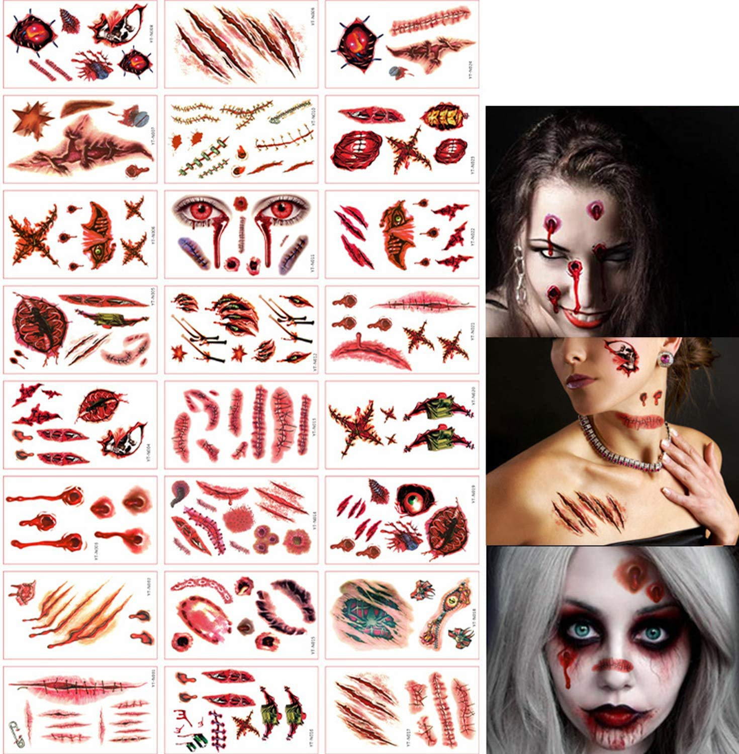 300+ Halloween Scar Temporary Tattoos - Max 52% OFF Zombie Sup Max 69% OFF Party Vampire