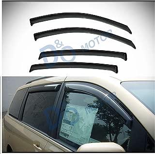 D&O MOTOR 4pcs Front+Rear Smoke Sun/Rain Guard Outside Mount Tape-On Window Visors For 11-18 Toyota Sienna