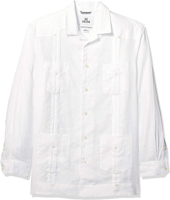 Marca Amazon - 28 Palms - Camisa guayabera plisada de lino 100 % y corte holgado con manga larga y 4 bolsillos para hombre