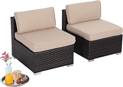 PHI VILLA 2-Piece Patio Furniture Set Rattan Sectional Sofa with Seat Cushions, Beige