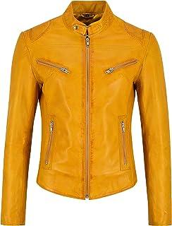 Carrie CH Hoxton Speed Ladies Real Chaqueta de Cuero Amarillo 100% Lambskin Classic Biker Style SR-01
