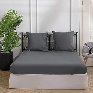 MOHAP Drap Housse 140x190/200 cm 110 Fils/cm² Gris avec Bonnet 30cm en Microfibre pour Matelas Epais Drap de lit Extensible