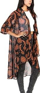 Women's Sheer Chiffon Floral Kimono Cardigan Long Blouse Loose Tops Outwear