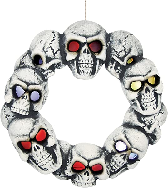 Skull Halloween Wreath With Multicolored Light Up Blinking LED Eyes 15 Inch White