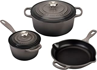 Le Creuset MS1605-7FSS Signature Enameled Cast Iron Cookware Set, 5-Piece, Oyster