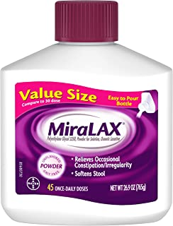 MiraLAX Laxative Powder for Gentle Constipation Relief, #1 Dr. Recommended Brand, 45 Dose Polyethylene Glycol 3350, stimulant-free, softens stool