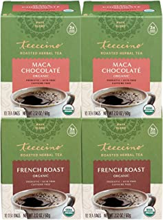 Teeccino Herbal Tea Variety Pack - French Roast and Maca Chocolaté - Rich & Roasted Herbal Tea That's Caffeine Free & Preb...