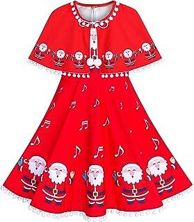 f2bff35f863 Sunny Fashion Robe Fille Rouge Cape Cape Noël an Vacances Partie 4-14 Ans