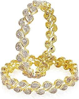 مجموعة اساور للنساء من المجوهرات التقليدية والعصرية مطلية بالذهب من يوبيلا (ابيض) (YBBN_9006A)