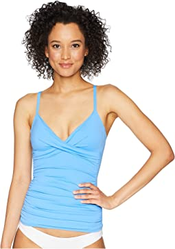 Beach Club Solids Surplice Underwire Over the Shoulder Tankini