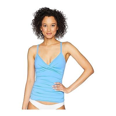 LAUREN Ralph Lauren Beach Club Solids Surplice Underwire Over the Shoulder Tankini (Sky Blue) Women