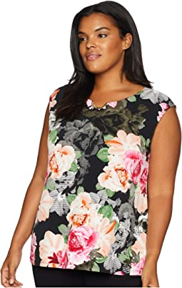 Plus Size Printed Sleeveless Top with U Hardware