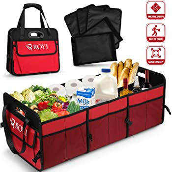 Collapsible Cargo Storage Containers,Grocery Cargo Container with with Three Large Compartments KKmoon Car Trunk Organizer