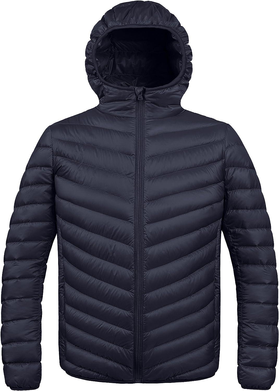ZSHOW Men's Packable Down Jacket Hooded Lightweight Winter Coat