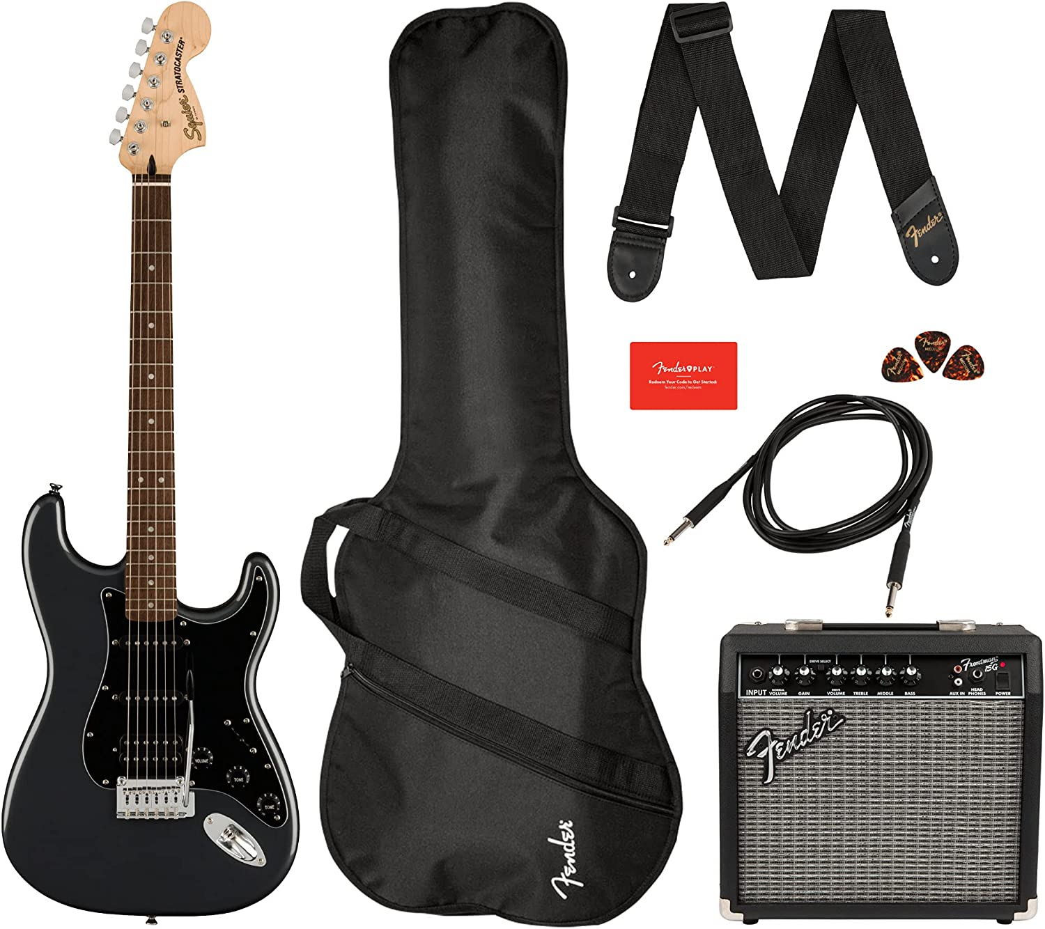 Squier Fender Affinity Stratocaster HSS LRL Charcoal Frost Metallic Pack