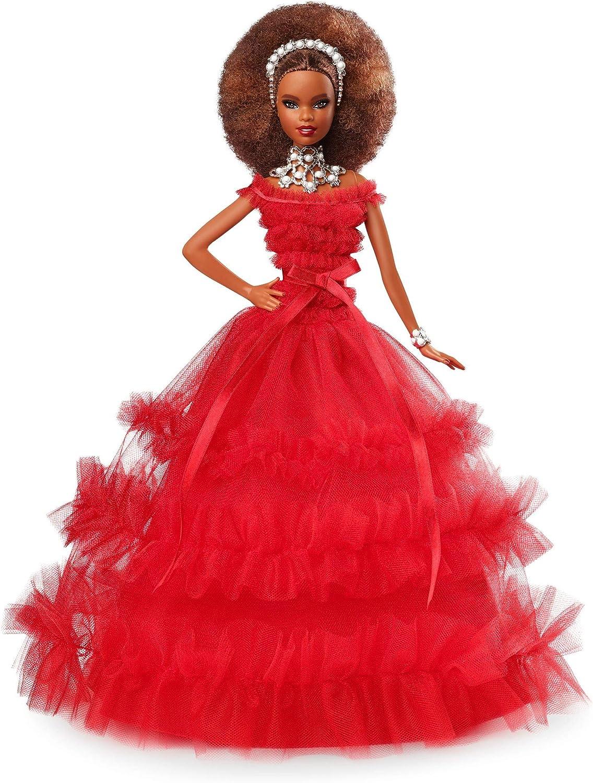 Barbie FRN70  Signature Holiday Barbie Puppe, brünett mit AfroStyle