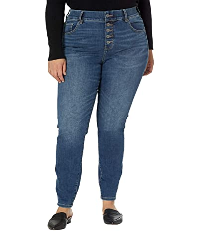 Jag Jeans Plus Size Valentina Skinny Pull-On Jeans with Faux Button Fly