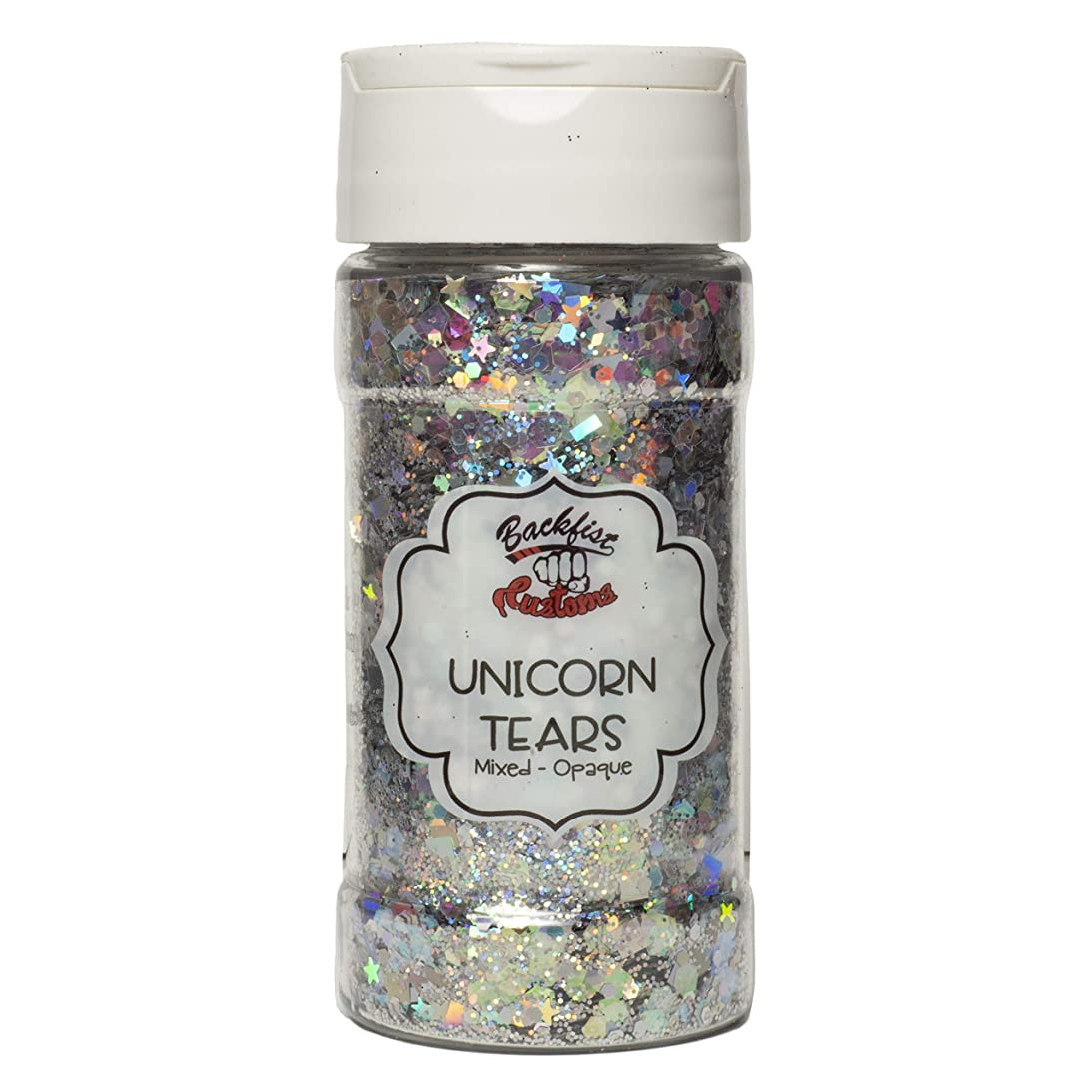 Backfist Customs Glitter Unicorn Tears Premium Polyester Glitter Multi Purpose Dust Powder 4oz for use with tumblers Slime Arts & Crafts Wine Glass Decoration Weddings Cards