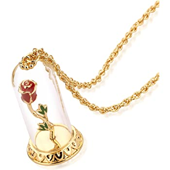 Disney Couture Kingdom Beauty /& the Beast Rose Gold-Plated Crystal Rose Necklace