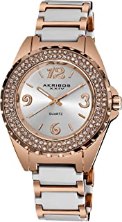 Women's Crystal Watch - Two Rows of Genuine Crystal on Bezel with Luminescent Hands On Ceramic Bracelet - AK514