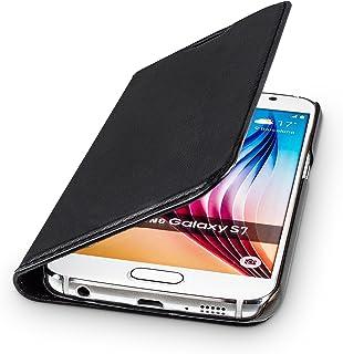WIIUKA Echt Ledertasche  TRAVEL  für Samsung Galaxy S7 mit Kartenfach, extra Dünn, Tasche Schwarz, Leder Hülle kompatibel mit Samsung Galaxy S7