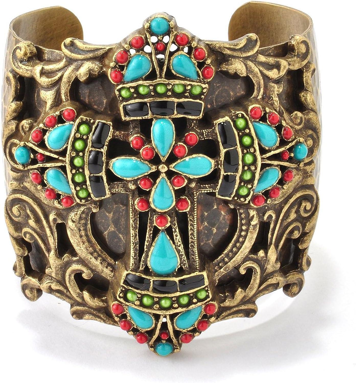 Sweet Romance Mayan Cross Inspirational Women's Cuff Bracelet