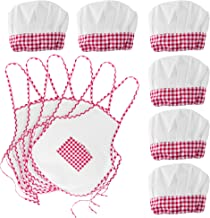 Super Z Outlet 12pc Set Complete Kids Cooking and Baking Apron with Pocket and Chef Hat Dress Up Set, Red Chef Costume for...