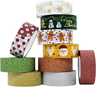 Washi Tape set, Cinta Adhesiva, Washi tape navideño, rojo, glitter, Manualidades, Pegatinas, Scrapbooking, Material escolar, Stickers, Cinta Decorativa Reciclada para Bricolaje, Set de 10 Cintas